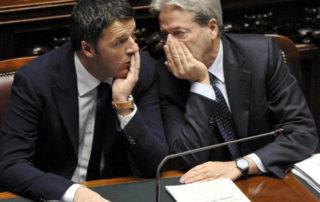 16/12/2014 Roma, Camera dei Deputati, il Presidente del Consiglio riferisce sul Consiglio Europeo, nella foto Matteo Renzi e Paolo Gentiloni